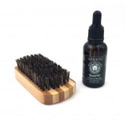 Pack Encens - Huile Laurier & Encens et brosse à barbe